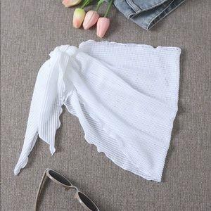 White Mesh Coverup Skirt